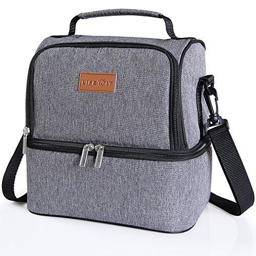 Mier Double Decker Insulated Lunch Box Soft Cooler Bag