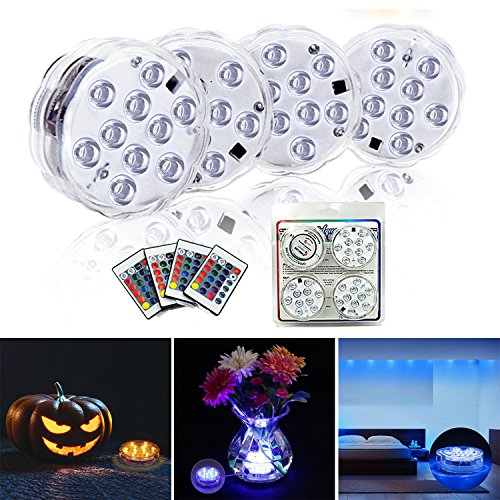 Submersible LED Lights 4 Pack-Battery Powered IR Remote