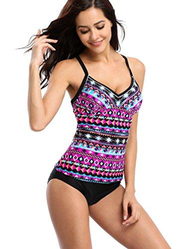 a9845e7ed3 ACKKIA Women's Ruched Solid Two-Piece Swimsuit Tankini Set Swimwear ...