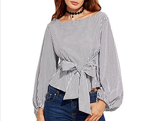 131872ba74b USGreatgorgeous Women's Plus Size Gril Striped Off Shoulder Bowknot Blouses  Ruffle Puff Sleeve Blouse Tops