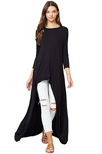 610963efd59 Naggoo Womens 3 4 Sleeve Loose Fit Asymmetrical Tunic Tops Dress V ...